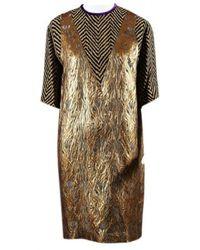 Dries Van Noten - Gold Linen Dress - Lyst