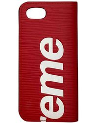 Supreme Red Leather Small Bag Wallet & Case