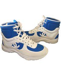 Chanel Scarpe da ginnastica in pelle blu Ankle Strap