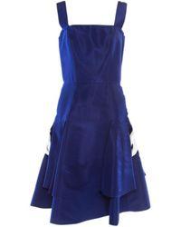 Oscar de la Renta Blue Silk Dress