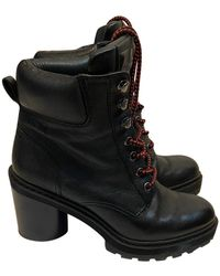 Marc Jacobs Leather Lace Up Boots - Black