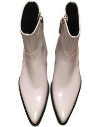 CALVIN KLEIN 205W39NYC Leather Western Boots - White