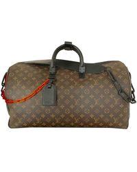 Louis Vuitton Keepall Leinen Wochenende Tasche - Braun