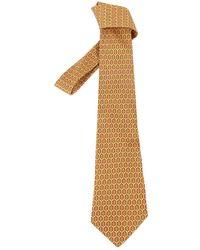 Hermès Gold Silk Tie - Metallic
