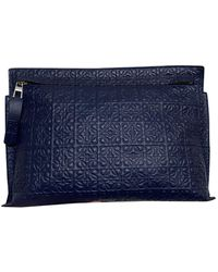 Loewe - T Pouch Leather Clutch Bag - Lyst