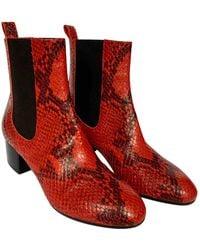 Dries Van Noten Python Ankle Boots - Red