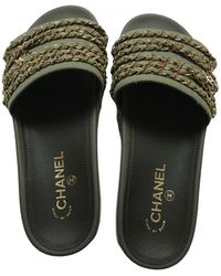 Chanel Cloth Mules - Green