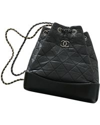 Chanel Gabrielle Leather Backpack - Black