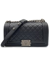 Chanel Boy Black Leather Handbag