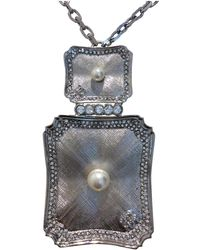 Chanel - Anthracite Metal Necklace - Lyst
