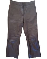 Sandro Leather Large Trousers - Brown