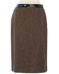 Hermès \n Brown Wool Skirt