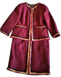 Chanel Burgundy Wool Jacket - Multicolour
