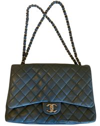 Chanel Sac à main Timeless/Classique en Cuir Bleu