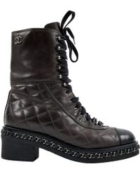 748e742f033 Lyst - Chanel Black Pony Hair   Leather Lace Up Cap Toe Over The ...