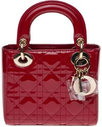 Dior Lady Lackleder Handtaschen - Rot