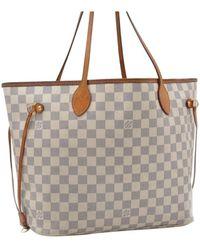 Louis Vuitton Neverfull White Cloth Handbag
