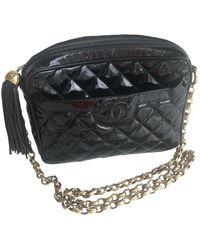 Chanel Bolso Camera de Charol - Negro