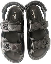 Chanel Dad Sandals Leder Sandalen - Schwarz