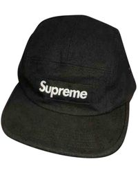 Supreme Black Cotton Hats & Pull On Hats