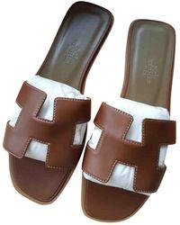 Hermès Oran Ecru Leather Sandals - Multicolour
