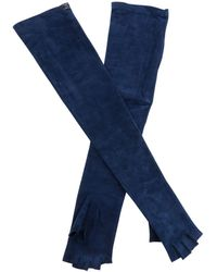 Chanel - Pre-owned Navy Suede Gloves - Lyst