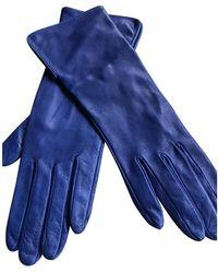 Burberry Leder Lange Handschuhe - Blau