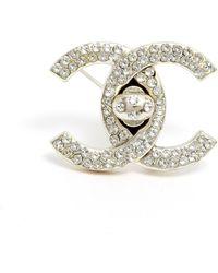 Chanel Broche en metal plateado CC - Multicolor