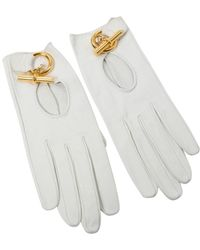 Hermès White Leather Gloves