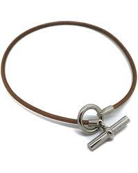 Hermès - Glenan Silver Leather Bracelets - Lyst