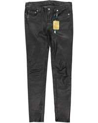 BLK DNM Pantalons en Cuir Noir