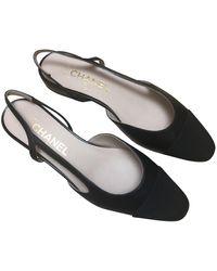 Chanel Bailarinas en cuero negro Slingback