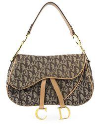 Dior Bolsa de mano en lona marrón Saddle - Multicolor