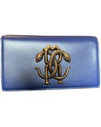 Roberto Cavalli Leather Clutch Bag - Blue