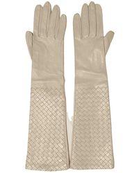 Bottega Veneta Leather Long Gloves - Natural