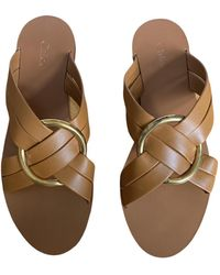 Chloé Rony Leather Mules - Brown