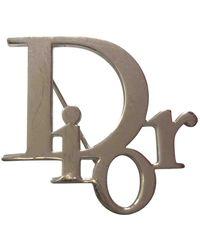 Dior Broche en metal plateado Oblique - Multicolor