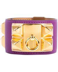 Hermès Collier De Chien Purple Leather Bracelet
