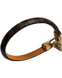 Louis Vuitton Pulsera en cuero marrón Lockit