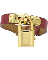 Hermès - Pre-owned Vintage Kelly Red Gold Plated Watches - Lyst