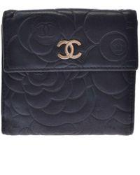 Chanel Portefeuilles en Cuir Noir