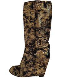 Chanel Leather Boots - Metallic