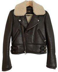 Maje Fw18 Leather Biker Jacket - Brown