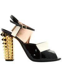 Fendi Black Patent Leather Sandals