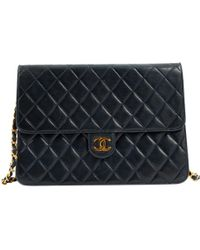 Chanel - Pre-owned Timeless/classique Navy Leather Handbags - Lyst