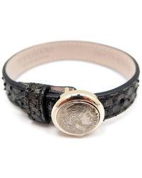BVLGARI - Monete Black Exotic Leather Bracelets - Lyst