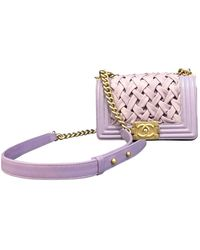 Chanel Boy Purple Leather Handbag