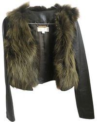 Michael Kors - Khaki Fur Leather Jacket - Lyst
