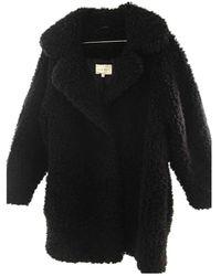 Sandro Faux Fur Coat - Black