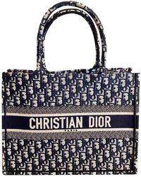 Dior Book Tote Leinen Shopper - Blau